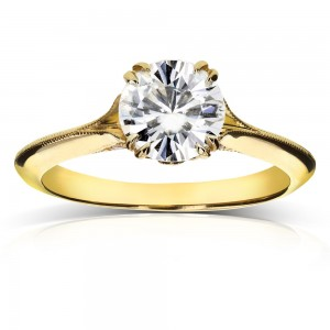 Gold Forever One Moissanite and 1/10ct TDW Diamond Blooming Flower Engagement Ring - Custom Made By Yaffie™