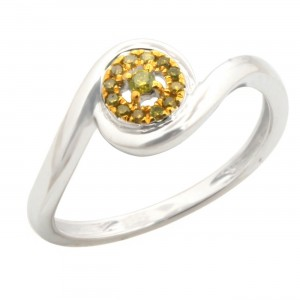 Attractive Round Brilliant Cut Yellow Color Trated Diamond Engagement Ring - Custom Made By Yaffie™
