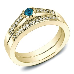 Gold 1/4ct TDW Blue Diamond Bridal Set - Custom Made By Yaffie™
