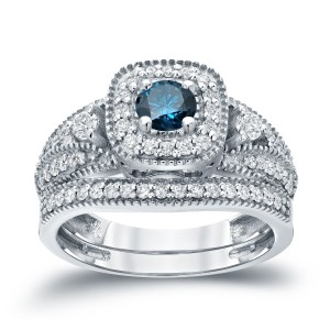 3/4ct TDW Halo Blue Diamond Wedding Ring Sets - Custom Made By Yaffie™
