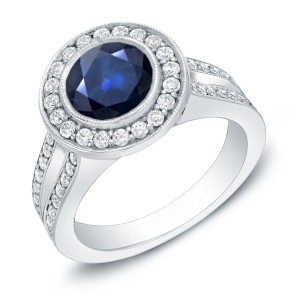 Gold 1 1/2ct Blue Sapphire and 3/5ct TDW Round Diamond Halo Engagement Ring - Custom Made By Yaffie™