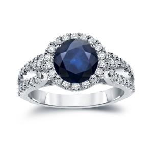 Gold 1 1/2ct Blue Sapphire and 4/5ct TDW Round Cut Diamond Halo Engagement Ring - Custom Made By Yaffie™