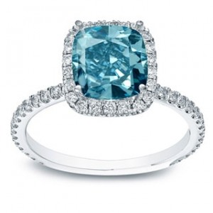 Gold 1 1/2ct TDW Blue Cushion-cut Diamond Halo Engagement Ring - Custom Made By Yaffie™
