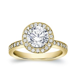 Gold 1 1/2ct TDW Certified Round Cut Diamond Engagement Ring - Custom Made By Yaffie™