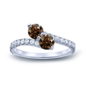 Gold 1 1/2ct TDW Round-cut Brown Diamond 3-prong, 2-stone Engagement Ring - Custom Made By Yaffie™