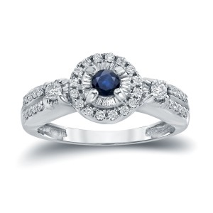 Gold 1/10ct Blue Sapphire and 1/4ct TDW Diamond Engagement Ring - Custom Made By Yaffie™