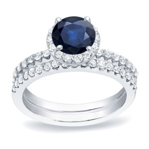 Gold 1/2ct Blue Sapphire and 3/4ct TDW Round Diamond Bridal Ring Set - Custom Made By Yaffie™