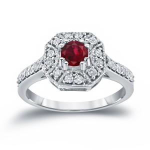 Gold 1/2ct Ruby and 1/3ct TDW Diamond Cluster Engagement Ring - Custom Made By Yaffie™