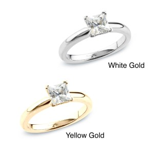 Gold 1/2ct TDW Certified Princess Diamond Solitaire Ring - Custom Made By Yaffie™