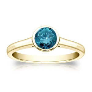 Gold 1/2ct TDW Round Blue Diamond Solitaire Bezel Ring - Custom Made By Yaffie™