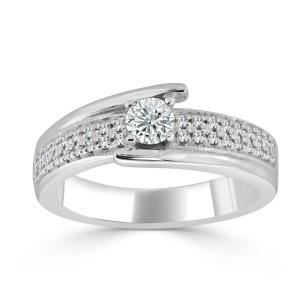 Gold 1/2ct TDW Round Diamond Engagement Ring - Custom Made By Yaffie™
