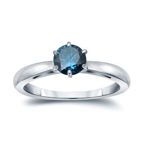 Gold 1/3ct TDW 6-Prong Round Cut Blue Diamond Solitaire Engagement Ring - Custom Made By Yaffie™