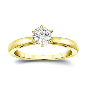 Gold 1/3ct TDW Round-Cut Diamond 6-Prong Solitaire Engagement Ring - Custom Made By Yaffie™