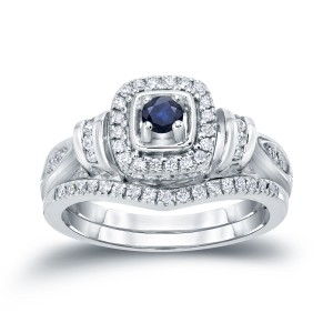 Gold 1/5ct Blue Sapphire and 1/3ct TDW Diamond Bridal Ring Set - Custom Made By Yaffie™