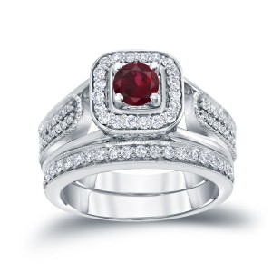Gold 1/6ct Ruby and 1/2ct TDW Diamond Bridal Ring Set - Custom Made By Yaffie™