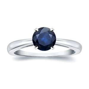 Gold 1ct Round Blue Sapphire Gemstone Solitaire Engagement Ring - Custom Made By Yaffie™