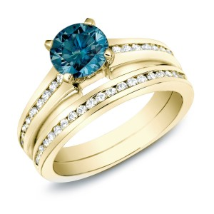 Gold 1ct TDW Blue Diamond Bridal Ring Set - Custom Made By Yaffie™