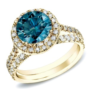 Gold 1ct TDW Blue Round Diamond Halo Bridal Ring Set - Custom Made By Yaffie™