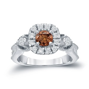 Gold 1ct TDW Brown Round Diamond Halo Engagement Ring - Custom Made By Yaffie™