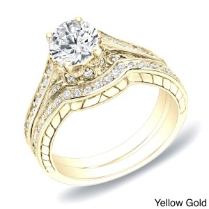 Gold 1ct TDW Certified Diamond Curved Band Bridal Ring Set - Custom Made By Yaffie™