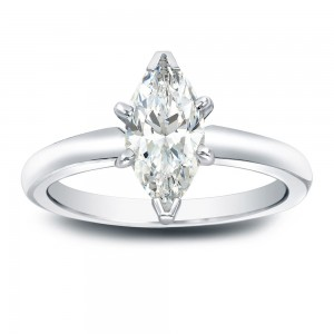 Gold 1ct TDW Marquise Diamond Solitaire Engagement Ring - Custom Made By Yaffie™