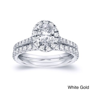 Gold 1ct TDW Oval Diamond Halo Bridal Ring Set - Custom Made By Yaffie™