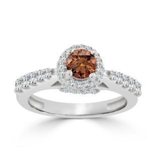 Gold 1ct TDW Round Brown Diamond Halo Engagement Ring - Custom Made By Yaffie™