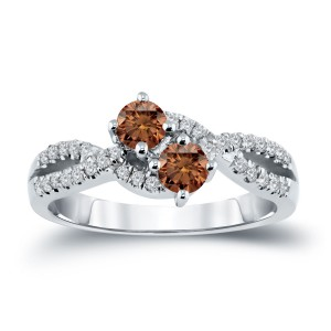 Gold 3/4ct TDW 2-Stone Brown Diamond Engagement Ring - Custom Made By Yaffie™