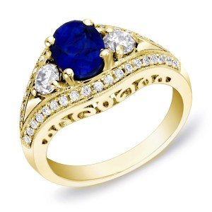Gold 3/4ct TDW Sapphire and Diamond Engagement Ring - Custom Made By Yaffie™