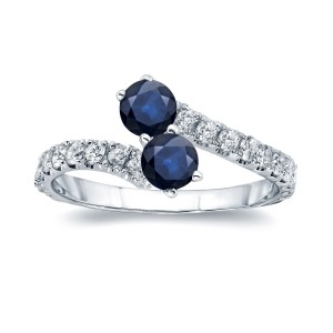 Gold 3/5ct Blue Sapphire and 1/3ct TDW Diamond 4-prong, 2-stone Engagement Ring - Custom Made By Yaffie™