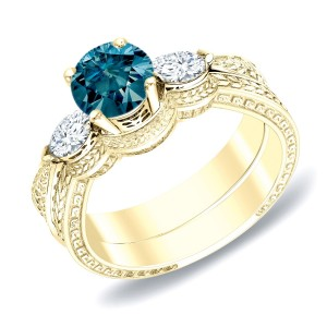 Gold 4/5ct TDW Blue Diamond Bridal Ring Set - Custom Made By Yaffie™