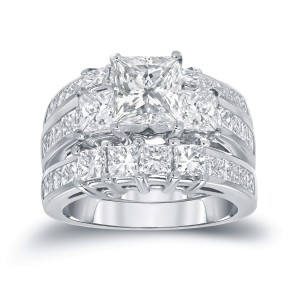 Gold 4ct TDW Certified Princess-cut Diamond 3-Stone 3-piece Bridal Ring Set - Custom Made By Yaffie™
