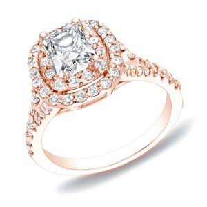 Rose Gold 1 1/4ct TDW Cushion Double Halo Diamond Ring - Custom Made By Yaffie™