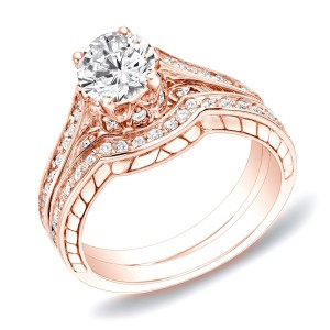 Rose Gold 1ct TDW Certified Diamond Curved Band Bridal Ring Set - Custom Made By Yaffie™
