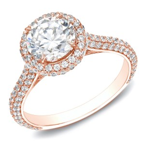 Rose Gold 2ct TDW Certified Diamond Halo Engagement Ring - Custom Made By Yaffie™