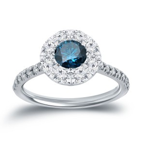 White Gold 1 1/6ct TDW Blue and Whiate Diamond Halo Engagement Ring - Custom Made By Yaffie™
