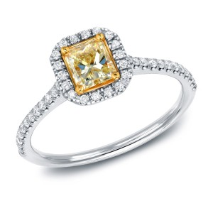 White Gold 3/4ct TDW Certified Radiant-cut Yellow Diamond Halo Engagement Ring - Custom Made By Yaffie™