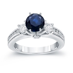 White Gold 7/8ct Blue Sapphire and 3/5ct TDW Round Diamond Ring - Custom Made By Yaffie™