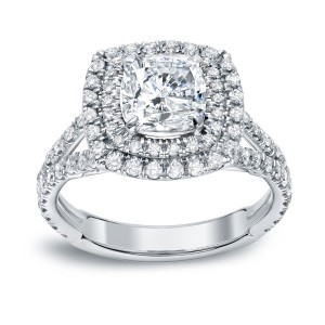 Gold 2ct TDW Certified Cushion Cut Diamond Engagement Ring - Custom Made By Yaffie™