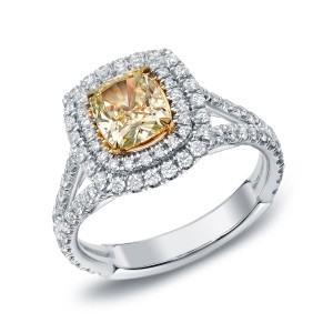 Gold 2ct TDW Certified Fancy Yellow Cushion-cut Diamond Ring - Custom Made By Yaffie™