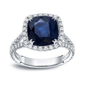 Gold 3ct Blue Sapphire and 1/3ct TDW Diamond Halo Engagement Ring - Custom Made By Yaffie™