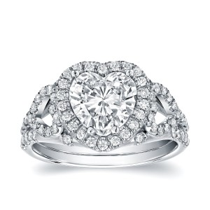 White Gold 1 7/8ct TDW Certified Heart-Shaped Diamond Engagement Ring - Custom Made By Yaffie™