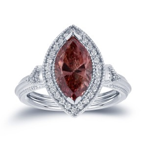 White Gold 2ct TDW Pink Diamond Marquise Ring - Custom Made By Yaffie™