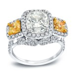 White Gold 5ct TDW Certified Cushion Cut Diamond Ring - Custom Made By Yaffie™