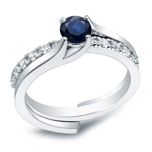 Platinum 3/5ct Blue Sapphire and 2/5ct TDW Round Cut Diamond Bridal Ring Set - Custom Made By Yaffie™
