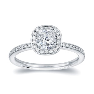 Platinum 4/5ct TDW Cushion Cut Halo Diamond Engagement Ring - Custom Made By Yaffie™