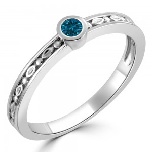 Women's Gold 1/10ct TDW Bezel Round Blue Diamond Solitaire Ring - Custom Made By Yaffie™