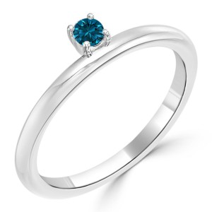 Women's Gold 1/10ct TDW Prong Round Blue Diamond Engagement Solitaire Ring - Custom Made By Yaffie™