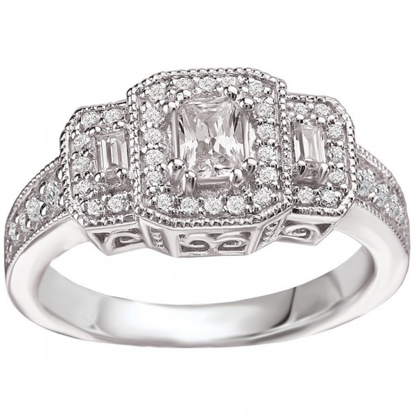 White Gold 3/4ct TDW Vintage Three-stone Emerald-cut Diamond Ring - Custom Made By Yaffie™