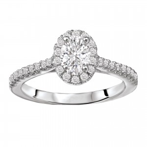 White Gold 5/8ct TDW Oval Diamond Halo Diamond Ring - Custom Made By Yaffie™